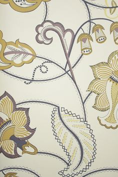 Pepper Trail Wallpaper A contemporary floral trail in mustard yellow, soft violet and charcoal on a beige background.