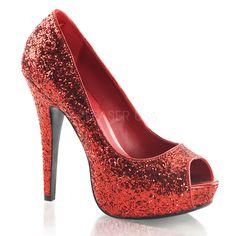 FABULICIOUS TWINKLE-18G Red Glitter Peep Toe Pumps