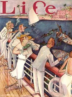 Life Magazine Copyright 1936 Black Caribbeans Diving - www.MadMenArt.com   Life Magazine ran weekly from 1883 to 1972. We especially like the profound humor and the keen-witted illustrations of the early era until 1936. #LifeMagazine #Vintage #Life #Magazines #Illustrations #Humor #MagazineCovers #Cartoons #VintageIllustrations