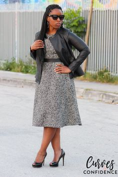 Curves and Confidence: Target Girls Faux Leather Jacket and Zara Faux Tweed Dress