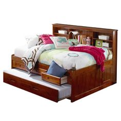 our full size day bed is a great choice for a space saving in your kids room the full size merlot bookcase captain day bed includes a bookcase