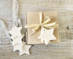 Christmas Home Decor – Multifunctional Stars ornament Gift tags Set of 5 – a unique product by IrenkaR on DaWanda
