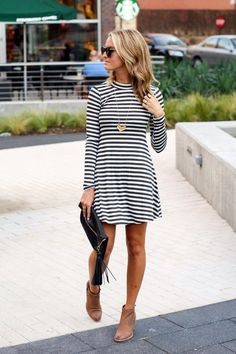 Striped Dress and Brown Boots - striped dress summer outfits summer dress outfit blue summer dress outfit blue summer dress outfit outfits baby blue dress - blue dress outfit - Summer Blue Dresses 2019 Mode Outfits, Fall Outfits, Casual Outfits, Fashion Outfits, Summer Outfits, Outfit Winter, Fashion Ideas, Dress Summer, Fashion Trends