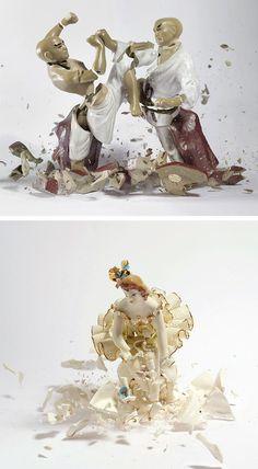 O fotógrafo Martin Klimas criou um ensaio fotográfico onde derruba lindos bonecos de cerâmica no chão capturando o momento exato que eles quebram.