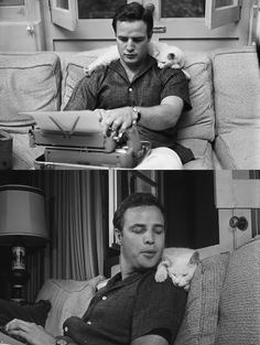 Marlon Brando, love the typewriter in his lap...the laptop computer in it's day :-)