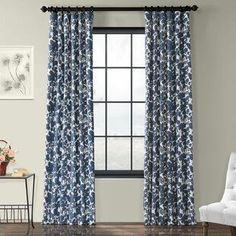 Alcott Hill Locke Cotton Ikat Room Darkening Thermal Rod Pocket Single Curtain Panel Size per Panel: W x L, Colour: Edina Blue Cotton Curtains, Floral Curtains, Colorful Curtains, Patterned Curtains, Drapery Panels, Grommet Curtains, Drapes Curtains, Shower Curtains, Flower Room