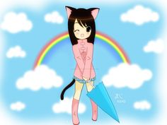 anim girl, cats, rainbows, kitti girl, kawaii girl, cat girl, kawaii neko, anime girls, kitty
