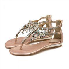 d14fc0aece1 Bohemia Gold Womens Sandals 2018 Beading Rhinestone Crystal Flat Sandals