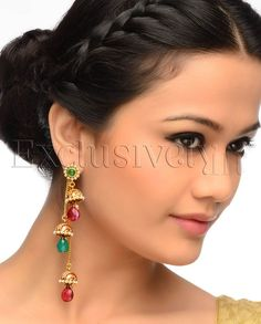 Long Chain Earrings with Jhumki Drops - Exclusively In