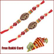 2 Om Beads Rakhi to Canada with Roli Tikka and Card
