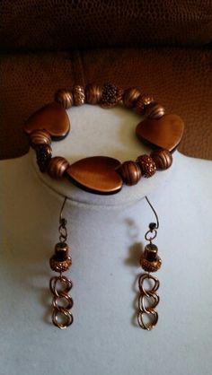 Cooper heart bracelet and earrings set