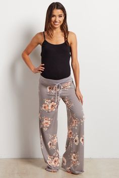5b7fba7351209 Grey Floral Drawstring Maternity Pajama Pants