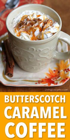 Easy Butterscotch Caramel Coffee recipe makes the perfect drink for cold nights!… Easy Butterscotch Caramel Coffee recipe makes the perfect drink for cold nights! Comes with a free printable recipe card for a holiday party coffee bar. Ninja Coffee Bar Recipes, Coffee Drink Recipes, Specialty Coffee Drinks, Easy Coffee, Hot Coffee, Coffee Girl, Coffee Ideas, Iced Coffee, Coffee Mugs