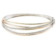 Tri-color Highway Design Bangle With Cttw Diamond, Bangle Bracelets, Bangles, Gold Bands, Jewelry Box, White Gold, Gems, Rose Gold, Jewelries, Qvc