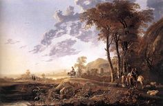 Albert Cuyp (1620 - 1691). Evening Landscape with horsemen and shepherds.  1655-1660g.g.