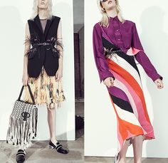 Emilio Pucci 2016 Resort Cruise Pre-Spring Womens Lookbook Presentation - Denim Jeans Deconstructed Elongated Sleeves Feathers Ornamental Print Decorative Art Blouse Thin Belt Sheer Chiffon Mesh Lace Lasercut 3D Cutout Fringes Vest Waistcoat Asymmetrical Skirt Frock Stripes Weave Drawing Sketch Check Plaid Wide Leg Trousers Palazzo Pants Shirtdress Outerwear Coat Leather Flowers Florals Thorns