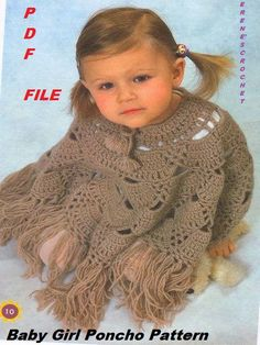 Crochet for Girls 3- 4 years old ,New cool Poncho, Wrap Pattern
