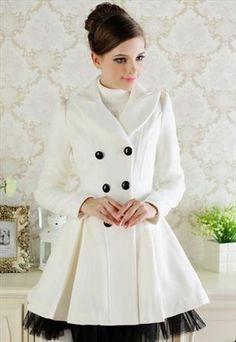 white cashmere elegant coat black Organza final sale g603 from GHLfashion