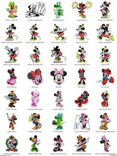 Mickey & Minnie Mouse - 101 embroidery designs - Free Machine Embroidery Designs Download