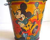 Mickey Mouse Donald Duck Disney Vintage Pail by dottirosestudio Mickey Mouse Donald Duck, Walt Disney Mickey Mouse, Vintage Mickey Mouse, Mickey Mouse And Friends, Disney Toys, Disney Movies, Disney Characters, Disney Princess Facts, Disney Fun Facts