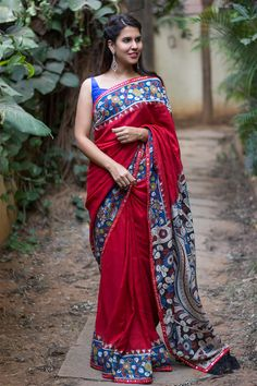 Red soft cotton silk saree with printed Kalamkari border and pallu + red mirrorwork border #saree #blouse #houseofblouse #indian #bollywood #style #ethnic #red #blue #white #soft #cottonsilk #printed #kalamkari #border