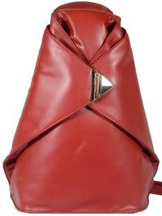 Stylish Ladies Triangular Soft Leather Backpack