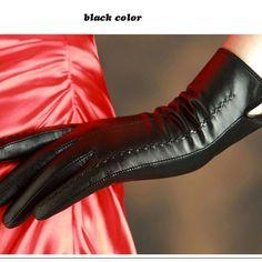 KLSS Brand Genuine Leather Women Gloves Winter Plus Velvet Top Quality Goatskin Gloves Trend Elegant Lady Sheepskin Glove 860