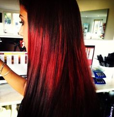 Beautiful red splashlight hair color created by our creative color team @MaisonMaite www.maisonmaite.com