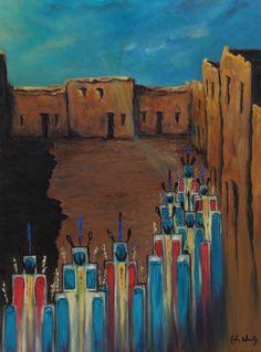 "Going Home, Shungopavi. Oil on canvas, 16"" x 24""."