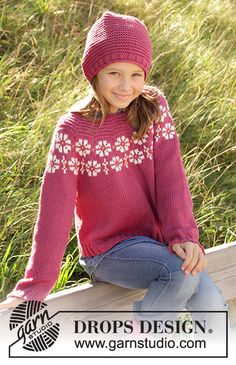 Daisy Delight - Knitted sweater for children in DROPS Merino Extra Fine, DROPS Lima and DROPS Cotton Light. The piece is worked top down with flowers, colored pattern, garter stitch and stockinette stitch. - Free pattern by DROPS Design Knitting Machine Patterns, Knitting Charts, Knitting Stitches, Free Knitting, Knitting Sweaters, Knitting For Kids, Knitting For Beginners, Jumper Patterns, Drops Design