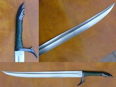 "recurve Sword | The blade is deeply hollowground of 1/4"" 6150 steel. The stainless ..."