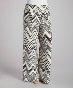 Take a look at the Ivory & Black Zigzag Palazzo Pants - Plus on #zulily today!
