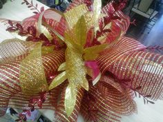 Rich Red & Gold Christmas Tree Topper by FloralCharisma on Etsy, $30.00