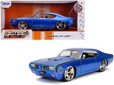 Pontiac Gto, Packing Boxes, Rubber Tires, Diecast Model Cars, Car Brands, Jaba, Muscle, Blue, Toys