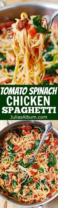 Tomato Basil & Spinach Chicken Spaghetti – healthy, light, Mediterranean style dinner, packed with veggies, protein and good oils.