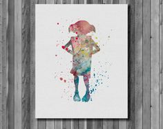 Harry Potter Poster  Dobby Aquarell Art Print von digitalaquamarine