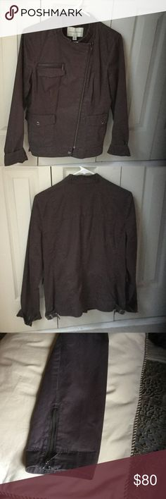 Beautiful dark brown jacket with zipper on sleeves Beautiful dark brown jacket with zipper on sleeves and adjustable on the sides only wore one time like new Banana Republic Jackets & Coats