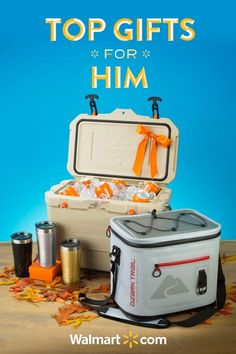 Treat him to something special this holiday season with great gift ideas from Walmart. Featuring coolers and tumblers to always keep his drink cold. Shop them all today. Top Gifts for Him Include: Ozark Trail 20 Can Leak Tight Cooler, Tumblers, 26 QT High-Performance Cooler.