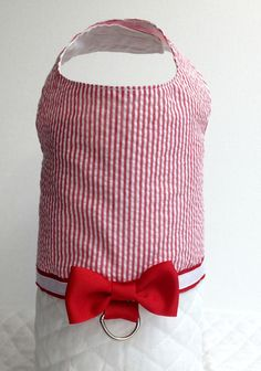 Red Seersucker Dog Harness Cat Harness Dog Vest by AllAboutMadison, $14.95
