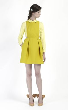 Carven  été 2012 introduction ,Robe salopette en tricotine de coton souffre