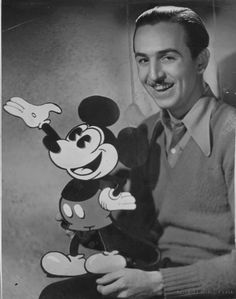 "On this date in 1928, Walt Disney released ""Steamboat Willie"" starring Mickey Mouse, the first commercially successful animated cartoon to use synchronized sound. Four years later on this date, Disney received an honorary Oscar at the Academy Awards at the Ambassador Hotel ""for the creation of Mickey Mouse."" Photo of Disney and Mickey from the L.A. Times files"