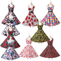 2014 CHEAP Vintage Halter Polka Swing 50s Housewife pinup Rockabilly Retro Dress #GraceKarin #BallGown #Cocktail