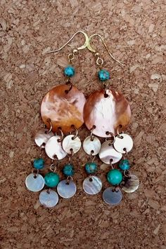 Genuine Mosaic Turquoise Copper Colored Mother of by IslandGirl77, $17.99