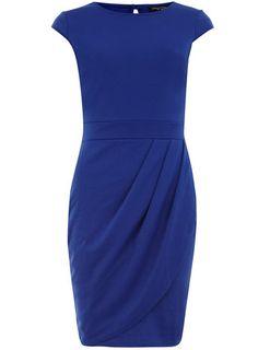 Blue drape ponte dress