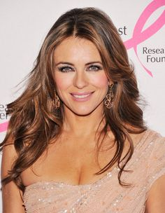 """Elizabeth Hurley Hair~with more length, less depth to layers, & a few more """"pieces"""" at the front?"""