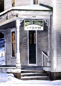 Monroe Grange - Watercolor: Robert J. O'Brien, AWS/NWS