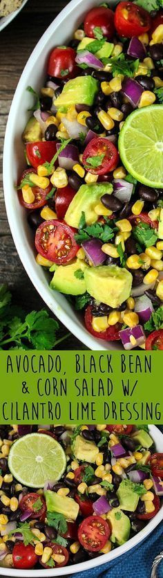 This Avocado, Black Bean & Corn Salad w/ Cilantro Lime Dressing is such a bright, colorful and flavorful dish. It looks like a fiesta on a plate!