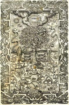 woodcut, Anonymous, Garden of Eden, (frontispiece ?) 16th-century