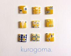 北欧柄イヤリング【黄色】 by kurogoma. アクセサリー イヤリング