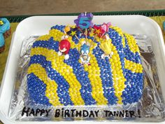 Tanner's Sonic Cake I made with sixlets! :)
